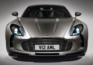 Silver color Aston Martin One-77 with Headlights switched on