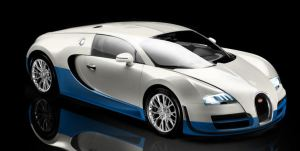 WHite and blue color Bugatti Veyron Super Sport