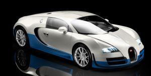 WHite and blue color Bugatti Veyron Super Sport