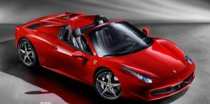 Red Ferrari 458 spider front side view