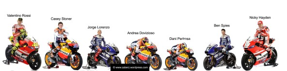 moto gp riders in their 2011 teams and leathers