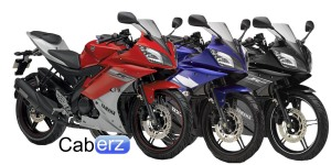 the three colours of yamaha YZF R15 side by side
