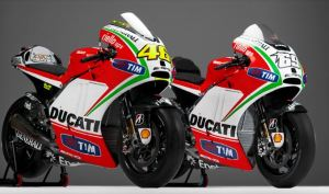 Ducati desmosedici GP 12 of Nicky hayden and Valentino Rossi side by side