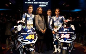 Randy De puniet and Aleix Espargaro with their 2012 Moto GP bikes presentation