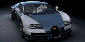 Blue tinted white silver Bugatti veyron Super sport in display