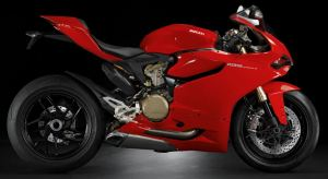 Red color Ducati 1199 Panigale right side view
