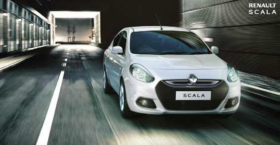 Renault Scala white in speed motion